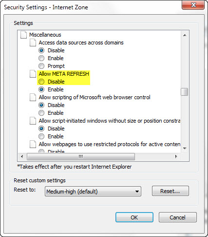 How To Disable Internet Explorer Auto Refresh