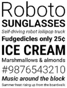 Roboto font that Google made For Android