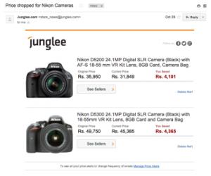 Create Price Alerts on Junglee