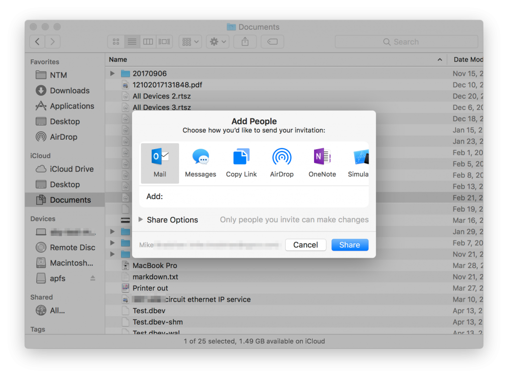 How to share iCloud Drive Documents on macOS and iOS