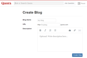CREATE BLOG IN QUORA