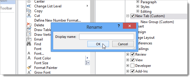 rename the ribbon in word, and other Microsoft office