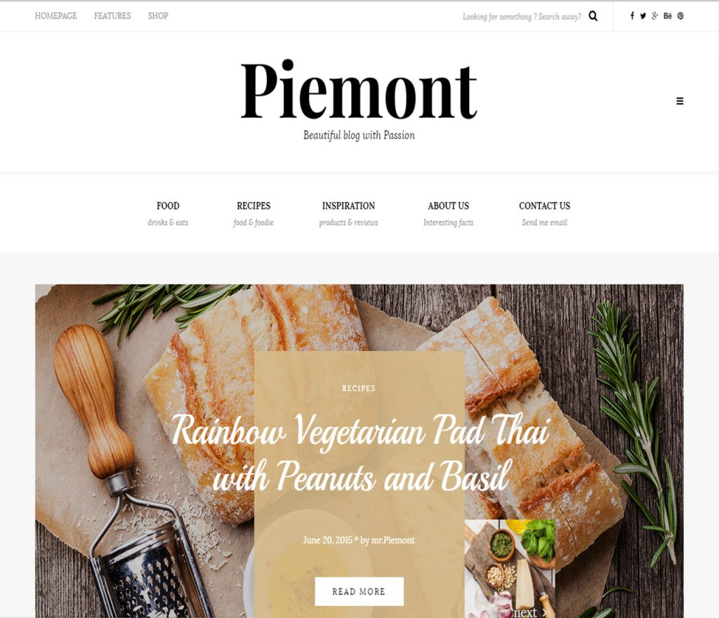 piemont Best WordPress Themes For Food Bloggers